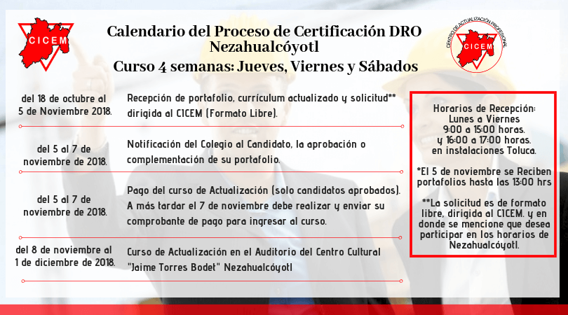 NEZAHUALCÓYOTL Curso para Certificación DRO @ SEDE: Nezahualcóyotl