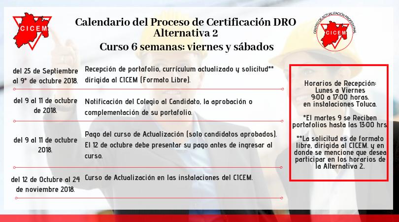 Curso para Certificación DRO Alternativa 2 @ SEDE: CICEM