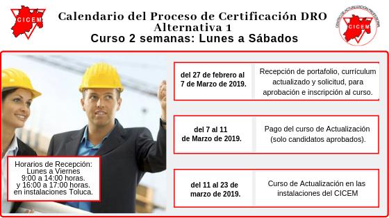 Curso para Certificación DRO Alternativa 1 @ SEDE: CICEM