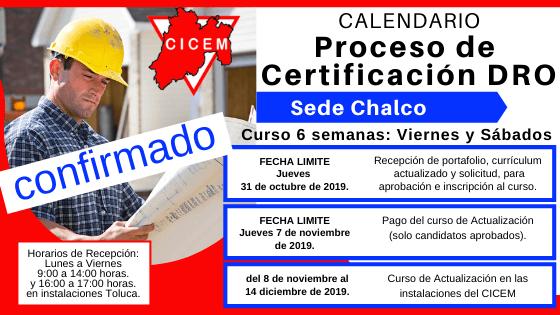 Último curso Chalco para Certificación DRO @ SEDE: Tlalnepantla