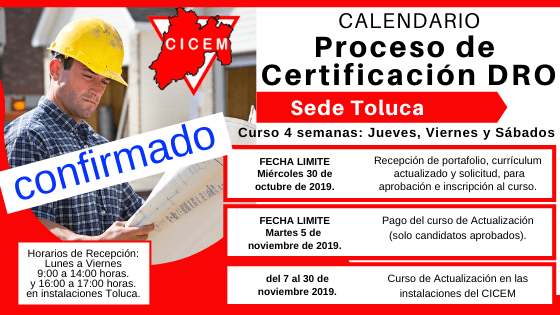 Último curso para Certificación DRO del año Toluca @ SEDE: CICEM