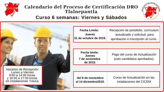 Último curso TLALNEPANTLA para Certificación DRO @ SEDE: Tlalnepantla