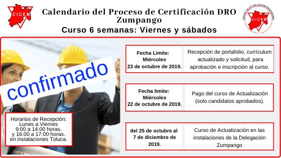 Último Curso para Certificación DRO sede Zumpango @ SEDE: Zumpango