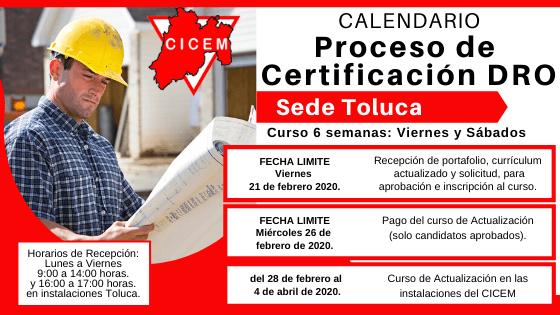 Curso para Certificación DRO del año Toluca @ SEDE: CICEM