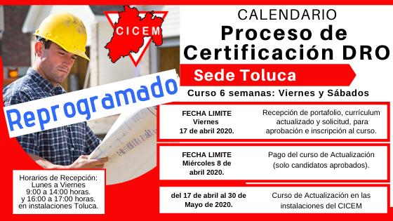 Curso para Certificación DRO Toluca @ SEDE: CICEM