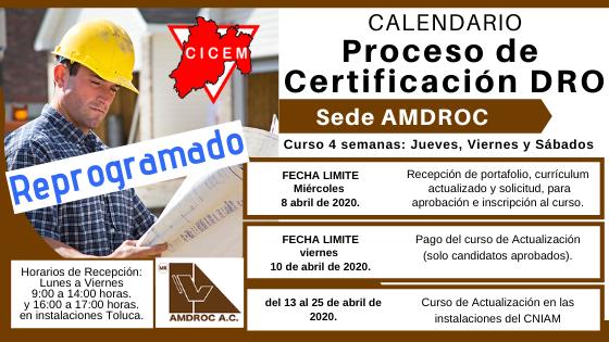 AMDROC Curso para Certificación DRO @ SEDE: Colegio de Ingenieros Mecánicos Electricistas A. C.