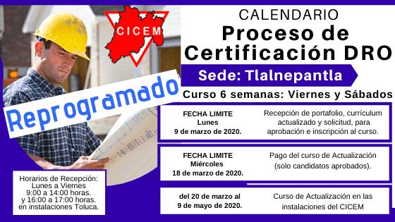 TLALNEPANTLA Curso para Certificación DRO @ SEDE: Tlalnepantla